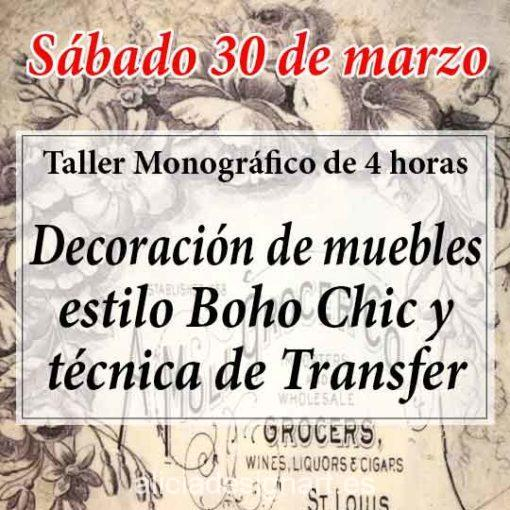 Curso taller de decoración de muebles con Transfer 190330 - Taller decoración de muebles antiguos Madrid estilo Shabby Chic, Provenzal, Romántico, Nórdico