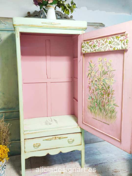 Mueble decorado con la pintura acrílica Cadence Hybrid Flor de Cactus H026 - Decoración de muebles antiguos estilo Shabby Chic, Provenzal, Romántico, Nórdico