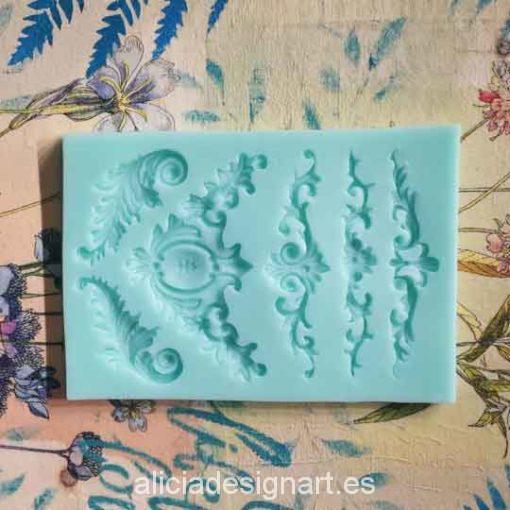 Molde silicona con esquinas y copetes para motivos decorativos en relieve - Decoración de muebles antiguos estilo Shabby Chic, Provenzal, Romántico, Nórdico