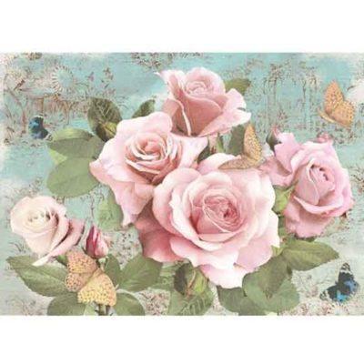 Hoja de papel de arroz de gran formato, con rosas, para decoupage - Taller decoración de muebles antiguos Alicia Designart Madrid.