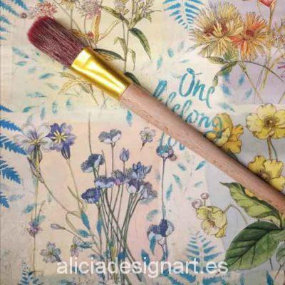 Pincel de mango largo numero 24, para encerar y pintar - Decoración de muebles antiguos estilo Shabby Chic, Provenzal, Romántico, Nórdico
