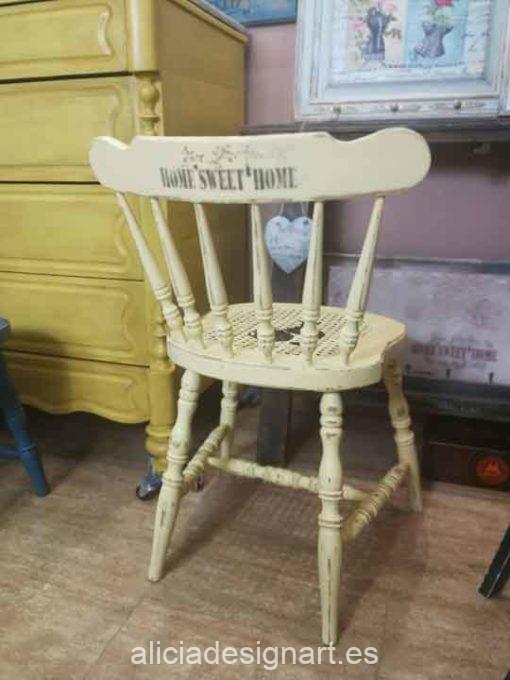Silla Thonet vintage estilo farmhouse amarilla con stencils - Taller de decoración de muebles antiguos Madrid estilo Shabby Chic, Provenzal, Romántico, Nórdico