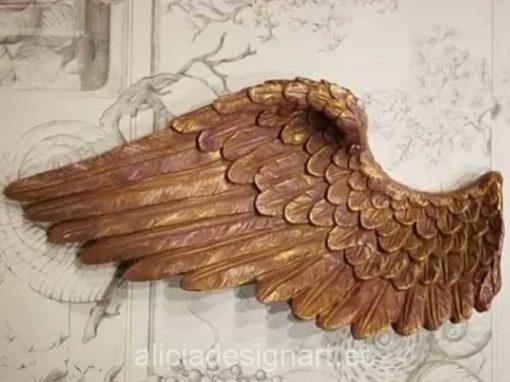 Pack de dos alas de ángel doradas y rosa para decorar tus espacios - Taller decoración de muebles antiguos Madrid estilo Shabby Chic, Provenzal, Romántico, Nórdico
