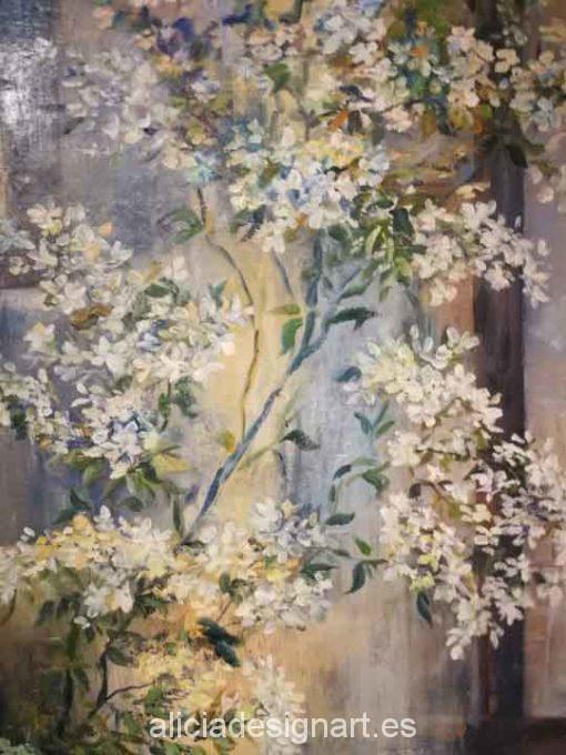 Jazmín, cuadro original, pintado a mano por Alicia Dominguez Lopez sobre tela - Taller decoración de muebles antiguos Madrid estilo Shabby Chic, Provenzal, Romántico, Nórdico