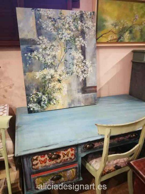 Jazmín, cuadro original, pintado a mano por Alicia Dominguez Lopez sobre tela - Taller decoración de muebles antiguos Madrid estilo Shabby Chic, Provenzal, Rómantico, Nórdico
