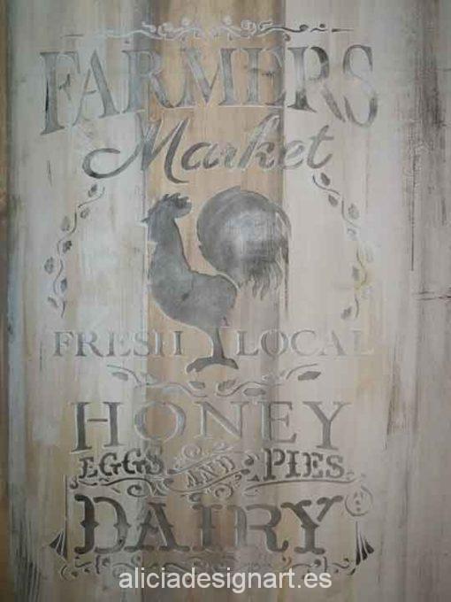 Panel decorativo de madera con stencil Farmer's Market - Taller decoración de muebles antiguos Alicia Designart Madrid.