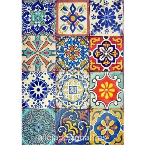 Papel de arroz azulejos Boho y Shabby Chic de Cadence ref PA307 - Taller decoración de muebles antiguos Madrid estilo Shabby Chic, Provenzal, Rómantico, Nórdico