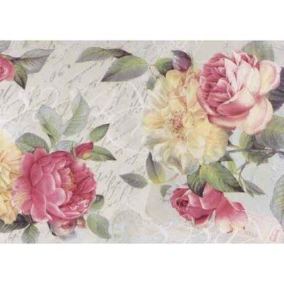 Hoja de papel de arroz de gran formato, con rosas románticas, para decoupage - Taller decoración de muebles antiguos Alicia Designart Madrid.