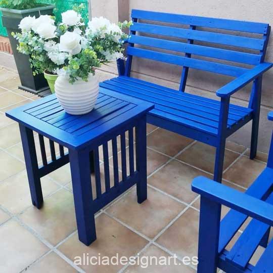 Muebles de jardín decorados con pintura acrílica Cadence Hybrid Azul Ultramar H038 - Decoración de muebles antiguos estilo Shabby Chic, Provenzal, Romántico, Nórdico