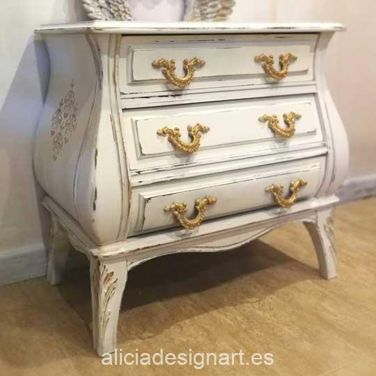 Mesilla decorada con pintura acrílica Cadence Hybrid Blanco Anciano H003 - Decoración de muebles antiguos estilo Shabby Chic, Provenzal, Romántico, Nórdico