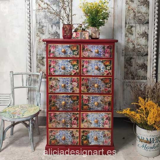 Sinfonier decorado con pintura acrílica Cadence Hybrid Rojo Carmín H053 - Decoración de muebles antiguos estilo Shabby Chic, Provenzal, Romántico, Nórdico