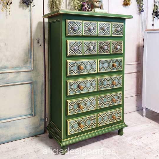 Sinfonier decorado con pintura acrílica Cadence Hybrid Verde Hoja H051 - Decoración de muebles antiguos estilo Shabby Chic, Provenzal, Romántico, Nórdico