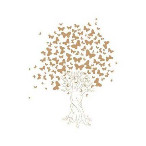 Plantilla de stencil estarcido Arbol y Mariposas - Taller decoración de muebles antiguos Madrid estilo Shabby Chic, Provenzal, Romántico, Nórdico