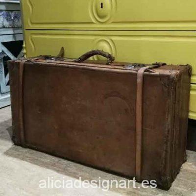 Maleta antigua de piel rígida - Taller decoración de muebles antiguos Madrid estilo Shabby Chic, Provenzal, Romántico, Nórdico