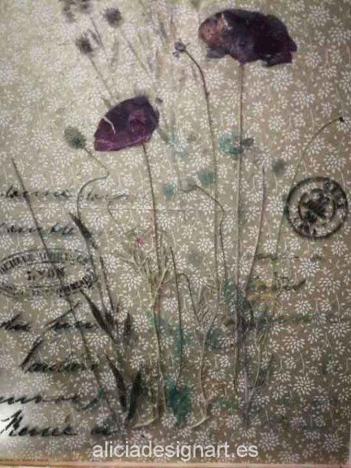 Cuadro decorativo original, 2 amapolas silvestres sobre papel de arroz, marco con pan de oro - Taller decoración de muebles antiguos Madrid estilo Shabby Chic, Provenzal, Romántico, Nórdico