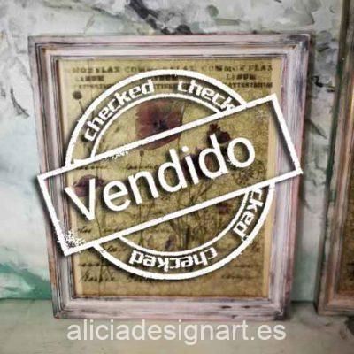 Cuadro decorativo original, 4 amapolas sobre papel de arroz, marco con pan de oro - Taller decoración de muebles antiguos Madrid estilo Shabby Chic, Provenzal, Romántico, Nórdico