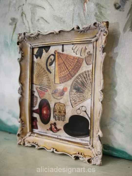 Cuadro decorativo con papel de arroz, marco resina, abanicos retro - Taller decoración de muebles antiguos Madrid estilo Shabby Chic, Provenzal, Romántico, Nórdico