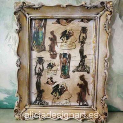 Cuadro decorativo con papel de arroz, marco resina, Art Déco - Taller decoración de muebles antiguos Madrid estilo Shabby Chic, Provenzal, Romántico, Nórdico
