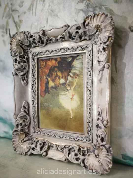 Cuadro decorativo Vintage con papel de arroz, marco decorado, La bailarina de Ballet - Taller decoración de muebles antiguos Madrid estilo Shabby Chic, Provenzal, Romántico, Nórdico