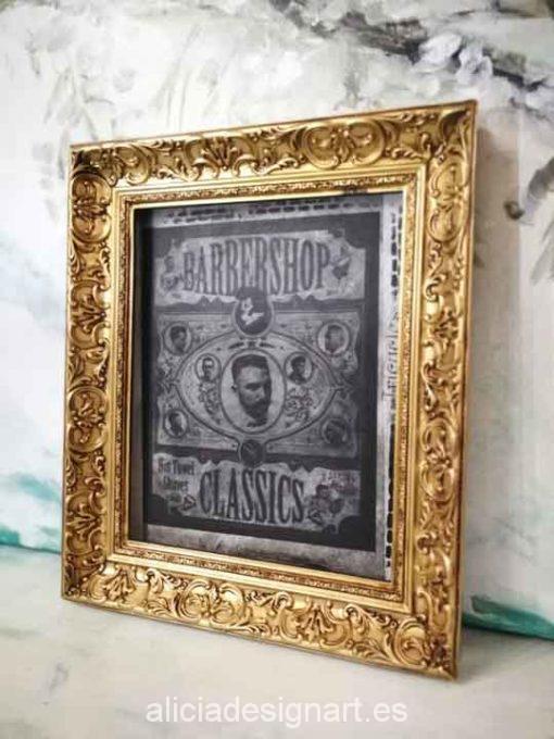 Cuadro decorativo Vintage con papel de arroz, marco con pan de oro, Barber Shop - Taller decoración de muebles antiguos Madrid estilo Shabby Chic, Provenzal, Romántico, Nórdico