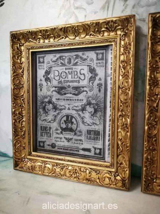 Cuadro decorativo Vintage con papel de arroz, marco con pan de oro, Bombs - Taller decoración de muebles antiguos Madrid estilo Shabby Chic, Provenzal, Romántico, Nórdico