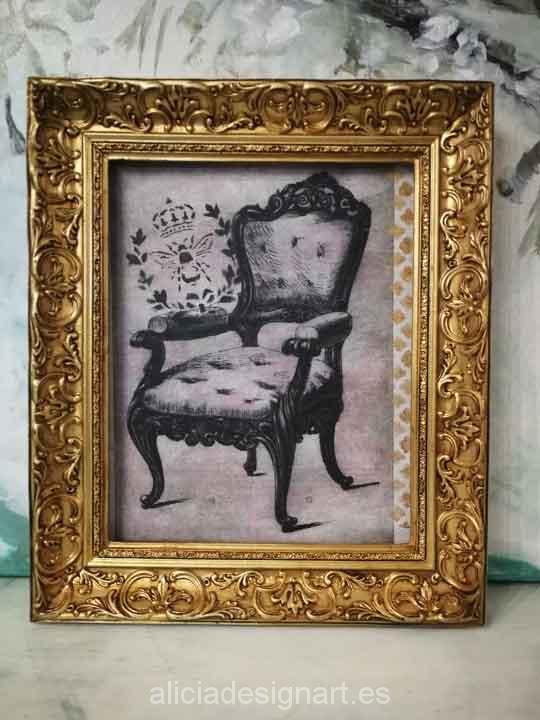 Cuadro decorativo con papel de arroz, marco con pan de oro, Butaca Rocccó - Taller decoración de muebles antiguos Madrid estilo Shabby Chic, Provenzal, Romántico, Nórdico