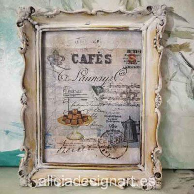 Cuadro decorativo con papel de arroz, marco resina, café - Taller decoración de muebles antiguos Madrid estilo Shabby Chic, Provenzal, Romántico, Nórdico