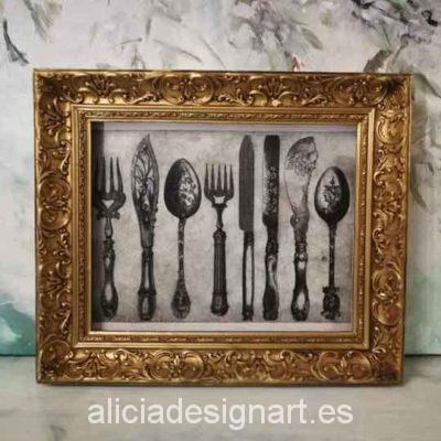 Cuadro decorativo Vintage con papel de arroz, marco con pan de oro, cubiertos - Taller decoración de muebles antiguos Madrid estilo Shabby Chic, Provenzal, Romántico, Nórdico