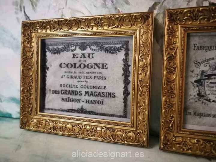 Cuadro decorativo Vintage con papel de arroz, marco con pan de oro, Eau de Cologne - Taller decoración de muebles antiguos Madrid estilo Shabby Chic, Provenzal, Romántico, Nórdico