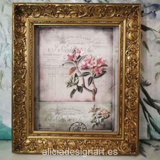 Cuadro decorativo con papel de arroz, marco con pan de oro, flores shabby - Taller decoración de muebles antiguos Madrid estilo Shabby Chic, Provenzal, Romántico, Nórdico