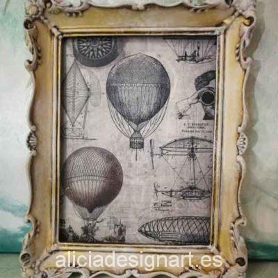 Cuadro decorativo con papel de arroz, marco resina, globos retro - Taller decoración de muebles antiguos Madrid estilo Shabby Chic, Provenzal, Romántico, Nórdico