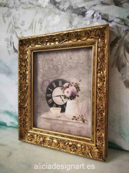 Cuadro decorativo con papel de arroz, marco con pan de oro, jarrón shabby - Taller decoración de muebles antiguos Madrid estilo Shabby Chic, Provenzal, Romántico, Nórdico