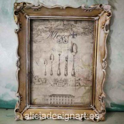 Cuadro decorativo con papel de arroz, marco resina, merci shabby - Taller decoración de muebles antiguos Madrid estilo Shabby Chic, Provenzal, Romántico, Nórdico