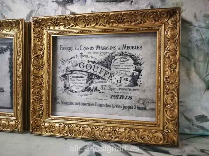 Cuadro decorativo Vintage con papel de arroz, marco con pan de oro, Meubles Gouffé - Taller decoración de muebles antiguos Madrid estilo Shabby Chic, Provenzal, Romántico, Nórdico