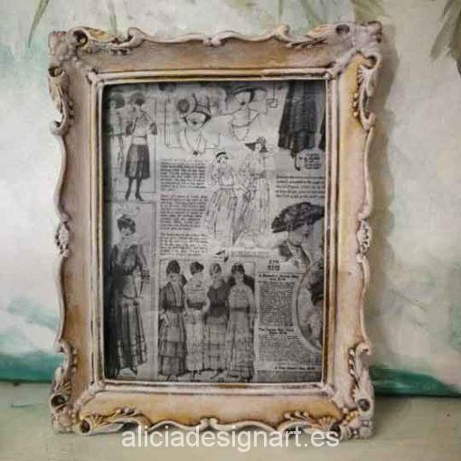 Cuadro decorativo con papel de arroz, marco resina, moda retro - Taller decoración de muebles antiguos Madrid estilo Shabby Chic, Provenzal, Romántico, Nórdico