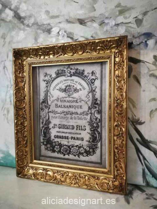 Cuadro decorativo Vintage con papel de arroz, marco con pan de oro, Vinaigre Balsamique - Taller decoración de muebles antiguos Madrid estilo Shabby Chic, Provenzal, Romántico, Nórdico