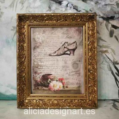 Cuadro decorativo con papel de arroz, marco con pan de oro, zapato Rococó - Taller decoración de muebles antiguos Madrid estilo Shabby Chic, Provenzal, Romántico, Nórdico