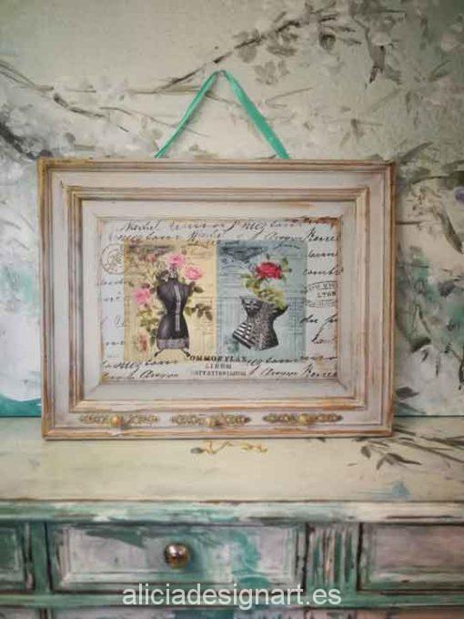 Perchero colgador reciclado con découpage moda retro - Decoración de muebles antiguos estilo Shabby Chic, Provenzal, Romántico, Nórdico