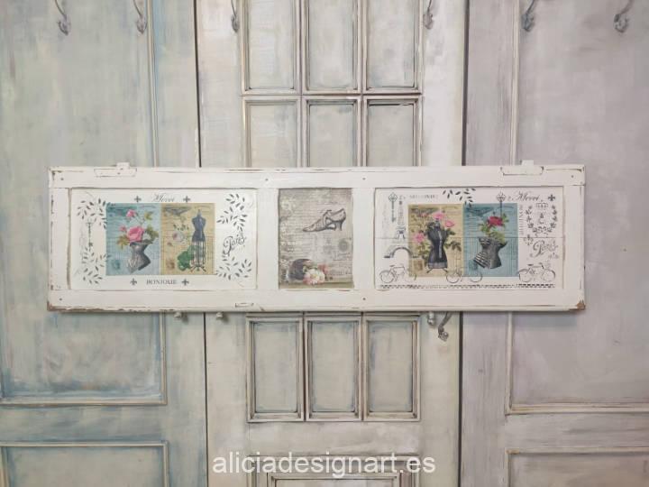 Contraventana reciclada con corpiños estilo Shabby Chic Romántico - Taller decoración de muebles antiguos Madrid estilo Shabby Chic, Provenzal, Romántico, Nórdico