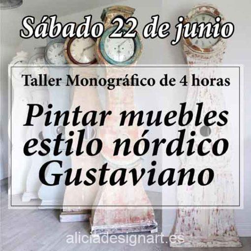 Curso taller de decoración de muebles con estilo nórdico Gustaviano 190622 - Taller decoración de muebles antiguos Madrid estilo Shabby Chic, Provenzal, Romántico, Nórdico