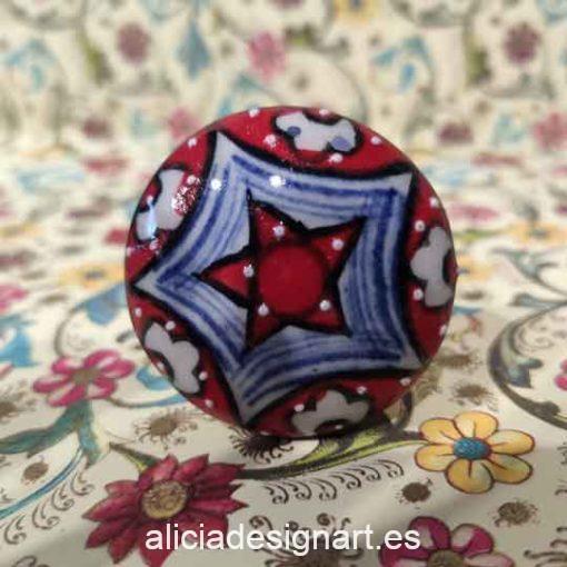 Pomos tiradores 4 cm de cerámica estilo Boho Chic India - Tienda de productos de decoración en Madrid. Plantillas de stencil, papel découpage, pintura decoración, Chalk Paint, accesorios