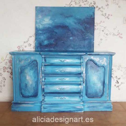 Aparador antiguo decorado con pouring y sfumato, opción de cuadro a juego, estilo artístico, precioso mueble de colores - Taller decoración de muebles antiguos Alicia Designart Madrid.
