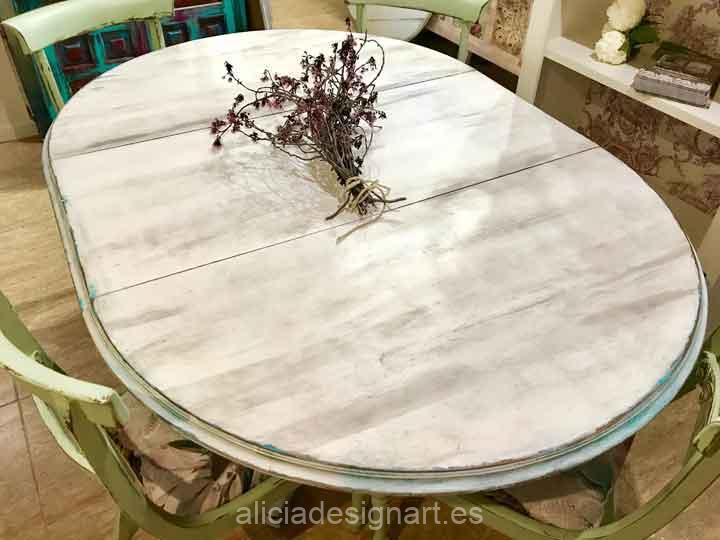 Mesa de comedor redonda extensible Campestre Farmhouse verde - Taller de decoración de muebles antiguos Madrid. Muebles de colores, productos y cursos.