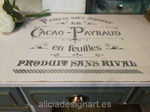 Bureau escritorio 6 cajones Shabby Chic Industrial con stencil - Taller de decoración de muebles antiguos Alicia Designart Madrid. Muebles de colores, productos y cursos.