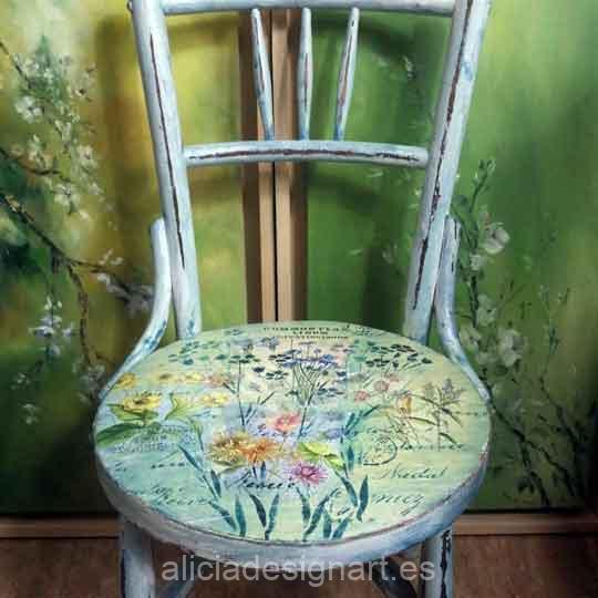 Silla antigua decorada estilo farmhouse campestre con flores - Taller de decoración de muebles antiguos Madrid estilo Shabby Chic, Provenzal, Romántico, Nórdico