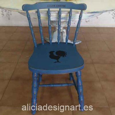 Silla Windsor vintage estilo farmhouse azul con stencils - Taller de decoración de muebles antiguos Madrid estilo Shabby Chic, Provenzal, Romántico, Nórdico