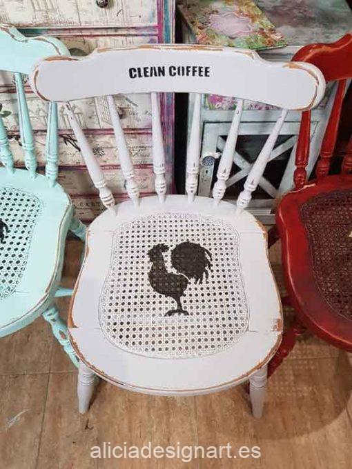 Conjunto de 5 sillas Windsor vintage estilo farmhouse con stencils - Taller de decoración de muebles antiguos Madrid estilo Shabby Chic, Provenzal, Romántico, Nórdico