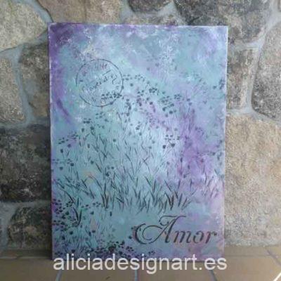 Purple Spring, cuadro original, pintado a mano por Alicia Dominguez Lopez - Taller de decoración de muebles antiguos en Madrid