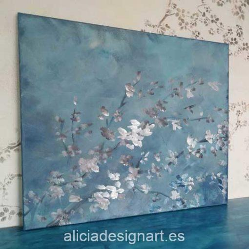 Rama de almendro variación azul, cuadro original, pintado a mano por Alicia Dominguez Lopez - Taller de decoración de muebles antiguos en Madrid