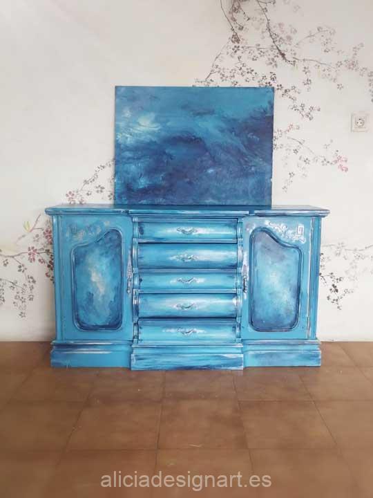 Mar, cuadro original, pintado a mano por Alicia Dominguez Lopez - Taller de decoración de muebles antiguos en Madrid